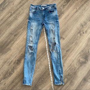 Zara Distressed Skinny Jeans with Ankle Zipper